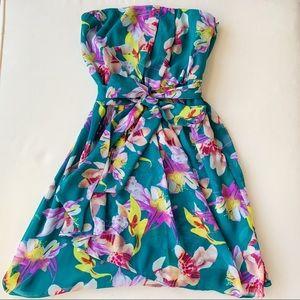 Teal Floral Print Belted Dress - Express Size 0